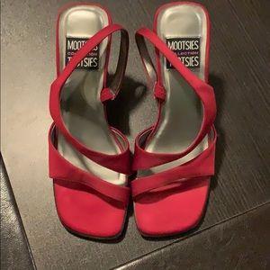 Women's Size 8.5 Red Satin High Heels
